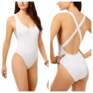 Bar III Textured High-Cut Cheeky One-Piece HighLeg